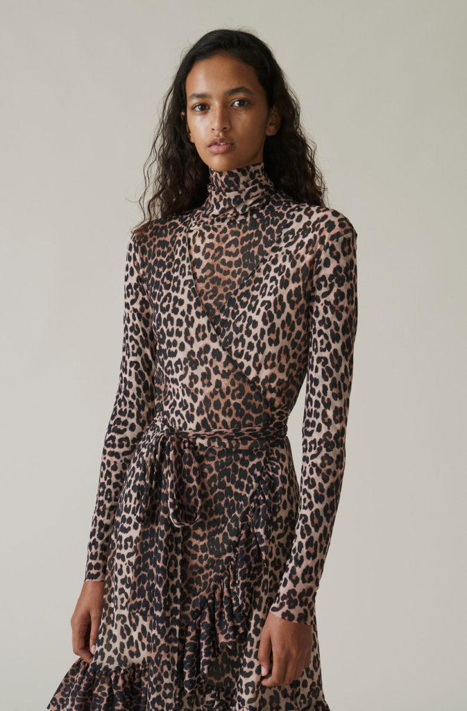Tilden mesh T1983 Leopard Wrap Dress Køb Ganni Kjoler i