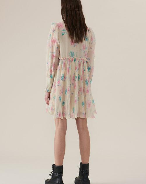Pleated Georgette Mini Dress